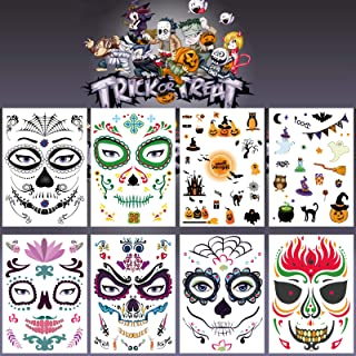 Leoars Halloween Temporary Face Tattoos, Day of the Dead Sugar Skull Floral Black Skeleton Web Red Roses Full Face Mask Tattoo for Women Men Kids Halloween Party Favor Supplies, 8-Sheet