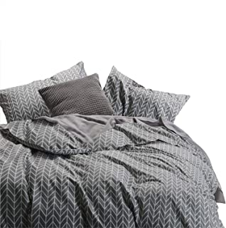 Wake In Cloud - Gray Comforter Set, Chevron Zig Zag Geometric Modern Pattern Printed on Grey, 100% Cotton Fabric with Soft Microfiber Inner Fill Bedding (3pcs, King Size)
