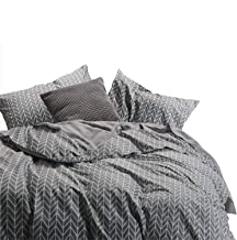 Wake In Cloud - Gray Comforter Set, Chevron Zig Zag Geometric Modern Pattern Printed on Grey, 100% Cotton Fabric with Soft Microfiber Inner Fill Bedding (3pcs, Queen Size)