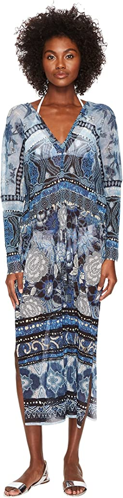FUZZI - V-Neck Cover-Up Kaftan Batik