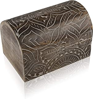 Great Birthday Gift Ideas Handmade Decorative Wooden Jewelry Box Treasure Box Jewelry Organizer Keepsake Box Treasure Chest Trinket Holder Lock Box Watch Box 9 x 6 Inch Her