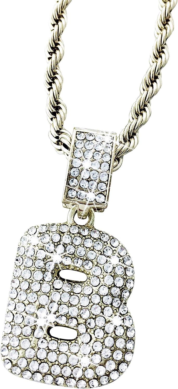 Exo Jewel - Collar con Colgante de Letra del Alfabeto con Diamantes de imitación y Cadena de 61 cm