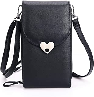 SINIANL Small Crossbody Bag Handbag Leather Cell Phone Pocket Pouch Purse Wallet Case With Credit Card Holder for Girls Women