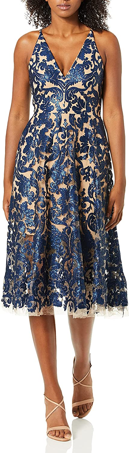 Dress the Population Women's Blair Plunging Fit and Flare Midi Dress, Navy/Nude, S
