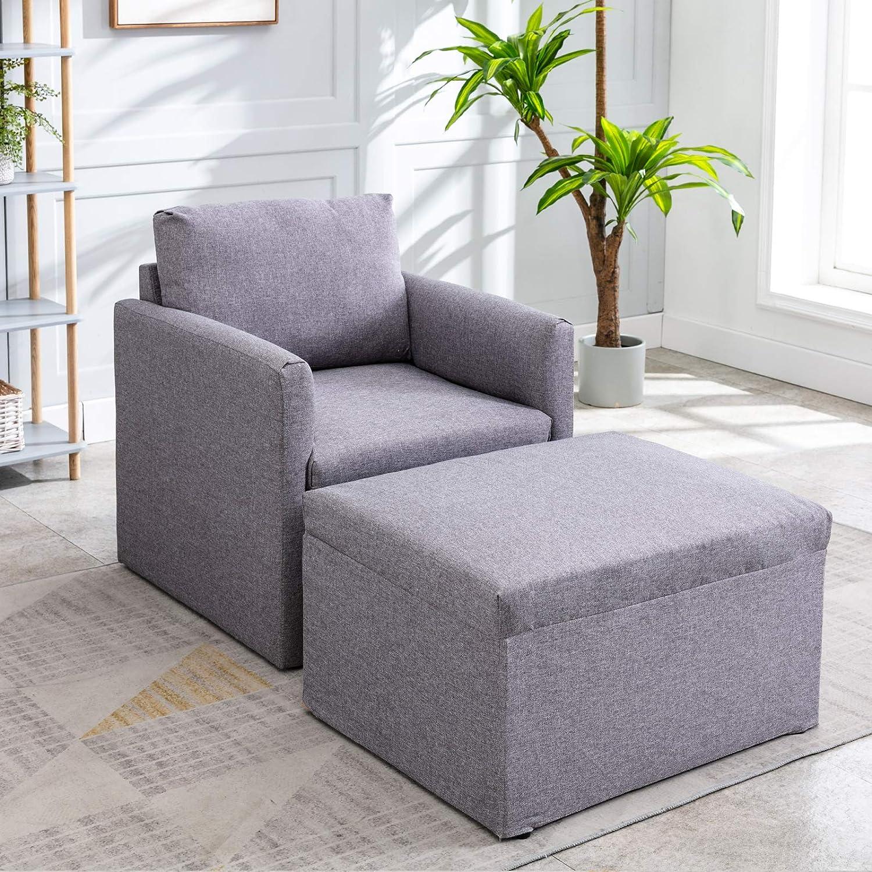 jeerbly Fauteuil moderne capitonné en tissu doux pour le salon, à assembler à volonté, gris foncé Gris Foncé 2 Pièces.