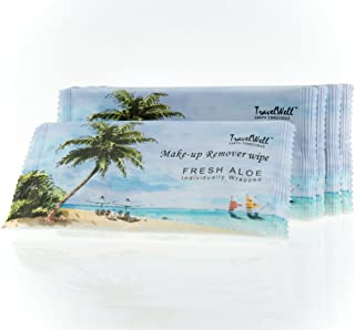 TRAVELWELL Fresh Aloe Individually Wrapped Makeup Remover Cleansing Travel Wipes, White, 500 Count