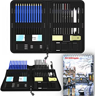 Sketch Set for Drawing with Sketch Book 40-Piece Professional Sketch Kit and 2 50-Sheet Pads for Kids Teens and Adults Com...