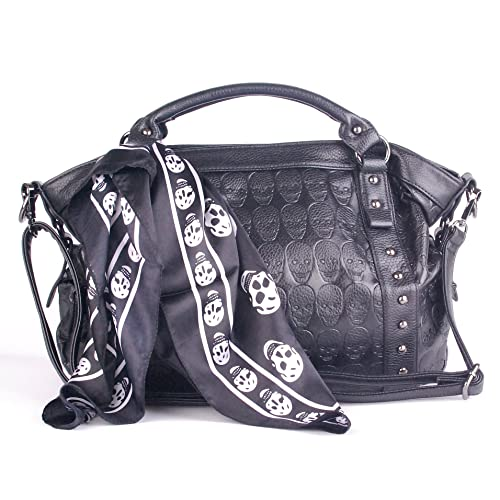 faff8c236297 Leather Women Skull Black Ladies Satchel Big Handbags for Women Soft with  Pockets and Tote Purses