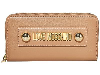 LOVE Moschino Love Logo Stud Zip Wallet (Camel Small Grain PU) Handbags