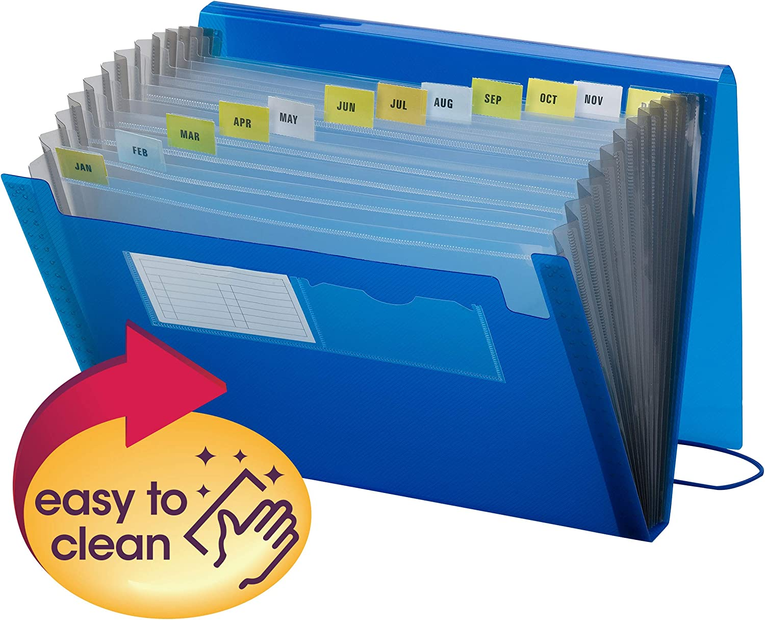 Blue 70876 Flap and Cord Closure Smead Poly Expanding File 12 Pockets Letter Size