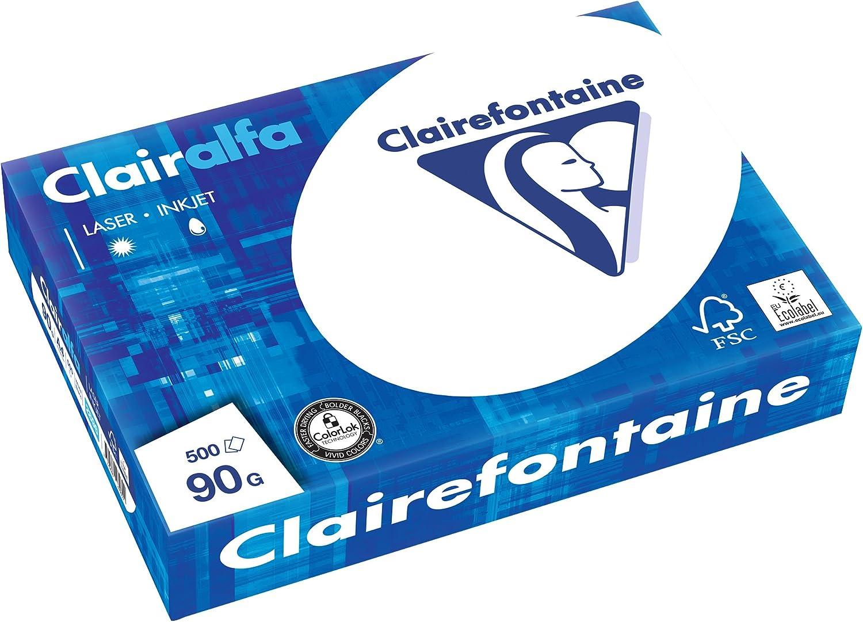 Clairefontaine Druckerpapier Clairalfa in Weiß   5 x 500 Blatt in DIN A4 mit 90 Gramm   Blickdichtes Kopierpapier mit besonderer A-Qualität B00WTQHERA | Günstig