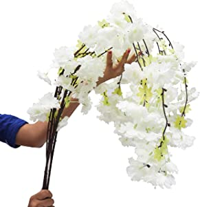 """BELLE VOUS Artificial Flowers Cherry Blossom (3 Pack) -125 cm (49"""") White Fake Flowers Branches for DIY Home Garden Party Office Table Bedroom Wedding Bridal Bouquet Decorations"""