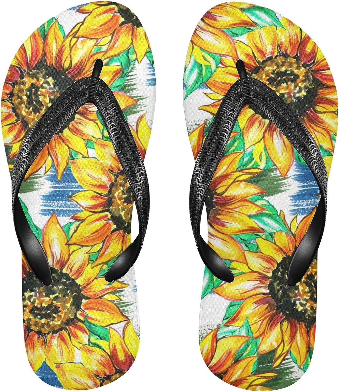 Linomo Men's Floral Industry No. 1 Flower 35% OFF Sunflower Flip Summer Slim Flop Beach