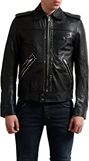 Just Cavalli Men's Black Full Zip Leather Jacket US S IT 48