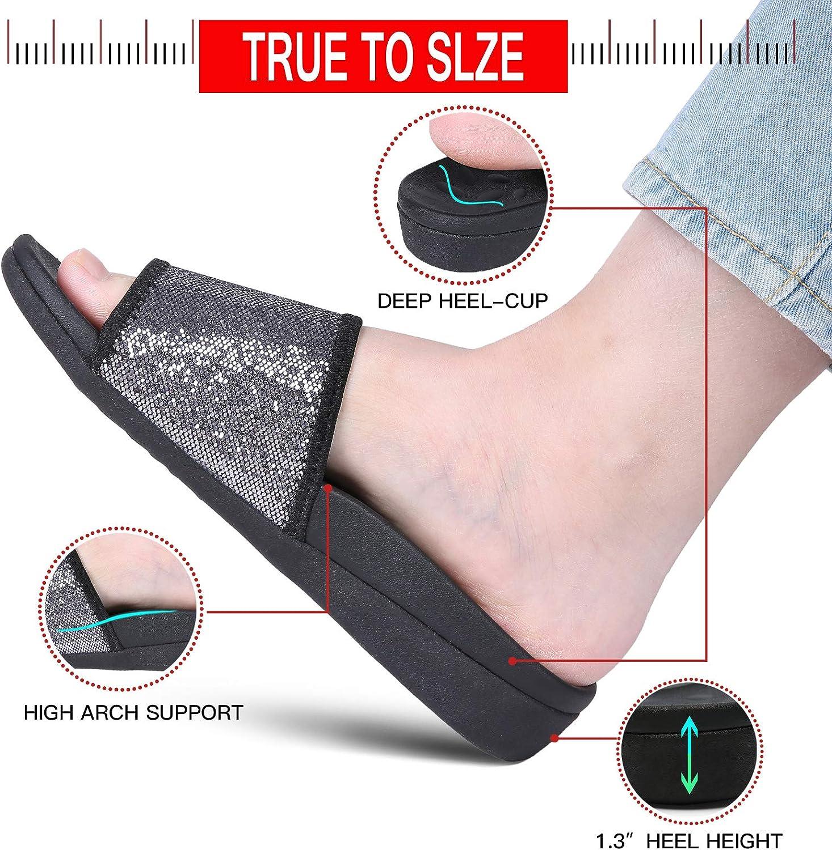 UTENAG Women's Slide Sandals with Arch Support Comfort Adjustable Wrap Orthopetic Sport Slides