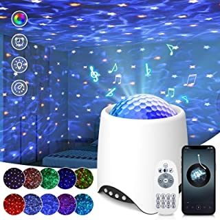 Projecteur Ciel Étoilé, SOLMORE Lampe Projecteur LED avec Bruit Blanc,8 Modes Scène/16 Musique/Télécommande/Bluetooth /Fon...