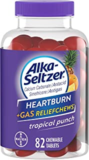 Alka-Seltzer Heartburn + Gas Relief Chews, Tropical Punch 82 ea ( Pack of 3)
