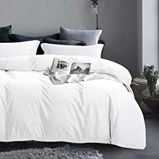 NTBAY Velvet Flannel Duvet Cover Set, 3 Pieces Zippered Comforter Cover Set, Queen, White