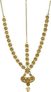 Bindhani Bollywood Style Wedding Gold Plated Maang Tikka Bridal Indian Damini Matha Patti Traditional Mang Tika Jewellery ...