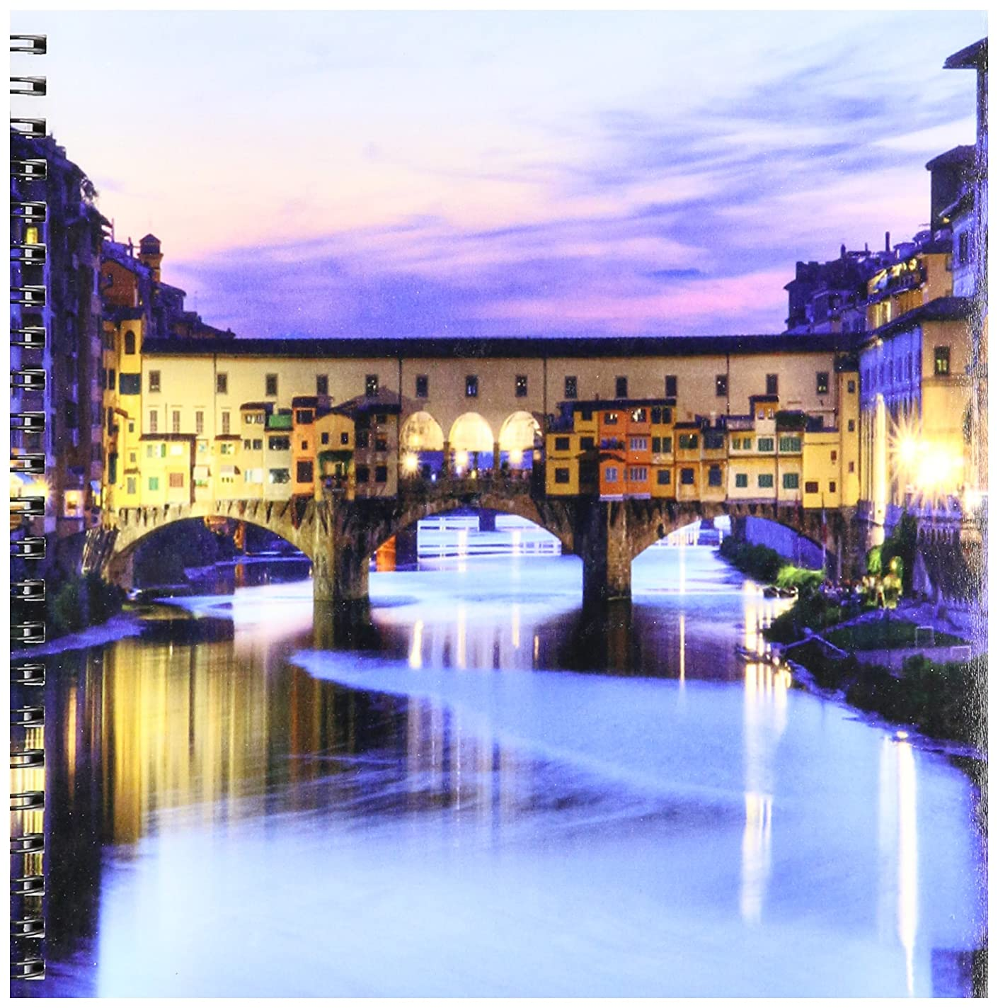3dRose db_66290_1 Florence, Italy Water and Bridge, Dusk-Drawing Book, 8 by 8-Inch buz25465514