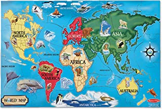 """Melissa & Doug World Map Jumbo Jigsaw Floor Puzzle (Wipe-Clean Surface, Teaches Geography & Shapes, 33 Pieces, 24"""" L x 36"""" W, Great Gift for Girls and Boys - Best for 6, 7, 8 Year Olds and Up)"""