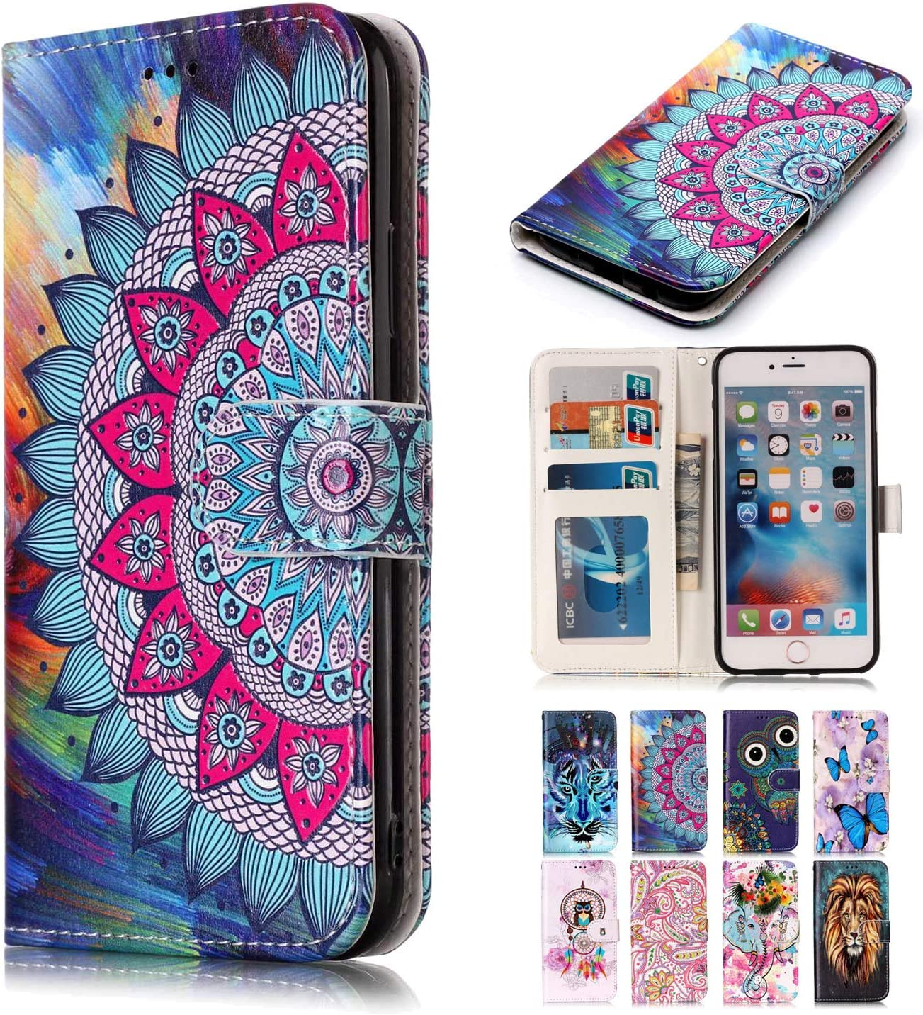 Rose-Otter Compatible pour Coque Apple iPhone X//XS Cuir Housse Etui Porte Carte Portefeuille Flip Case Fleur 3D Motif /à Rabat Antichoc Cover
