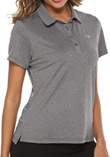 TBMPOY Women's Golf Polo T Shirts Lightweight Moisture Wicking Short Sleeve Shirt Quick Dry 4-Button