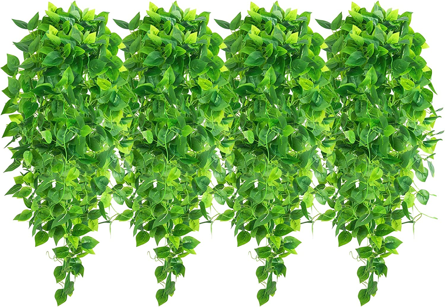 4 Pcs Fake Hanging Plants Artificial Greenery 3.6ft Faux Ivy Vines Hanging Wall Plants for Home Decor Room Garden Indoor Outdoor Decorations (No Basket)