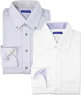 [アトリエサンロクゴ] ニットワイシャツセット 長袖 ニット 2枚セット ワイシャツ ノーアイロン 形態安定 ストレッチ 快適DRY 吸水速乾 多機能Yシャツ 伸縮自在で着心地 メンズ スリム sun-ml-sbu-1788-2fix