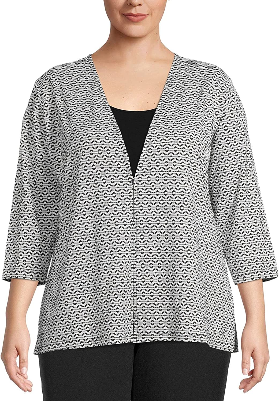 Kasper Women's Diamond Knit Jacquard Cardigan with Front Closure