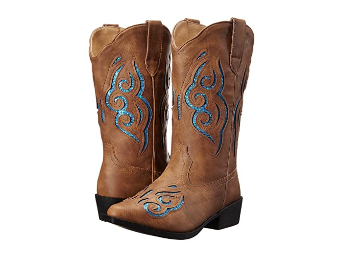 Roper Kids  Glitter Gracie (Toddler/Little Kid) (Tan Faux Leather/Vamp Turquoise Glitter Insert Shaft) Cowboy Boots