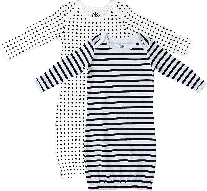 Cole + Cleo Baby 2 Pack Organic Infant Cotton Gown Super Soft Newborn Sleep Sack