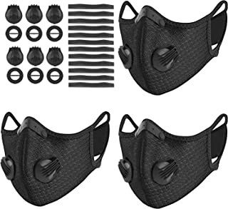 UBRU 3 Sets Sports Masks with 5-Layers Activated Carbon Filter Inside, Cycling Mask with 12 Soft Foam Padding and 6 Breath...