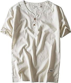 320c5a13c6426 Aieoe Chemise Homme en Lin Manches Courtes T-Shirt Décontractée Été Polos  Casual Loisir Respirant