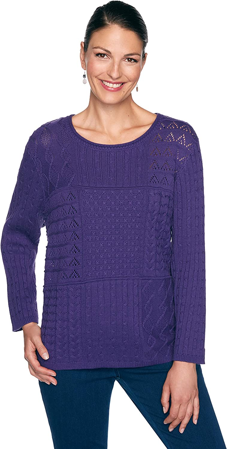 Alfred Dunner Classics Pullover Sweater Cable Stitch Pointelle (Size 3X) Grape