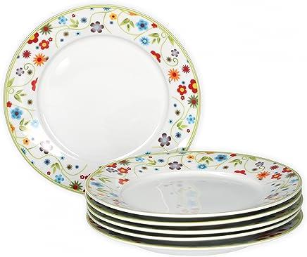 Preisvergleich für Van Well 6er Set Frühstücksteller Serie Vario Porzellan - Farbe wählbar, Farbe:flowers