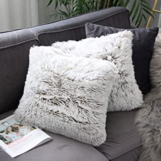 Uhomy Home Decorative Luxury Series Super Soft Style Artificial Fur Throw Pillow Case Cushion Cover for Sofa/Bed Brown Ombre 18x18 Inch 45x45 cm Set of 2