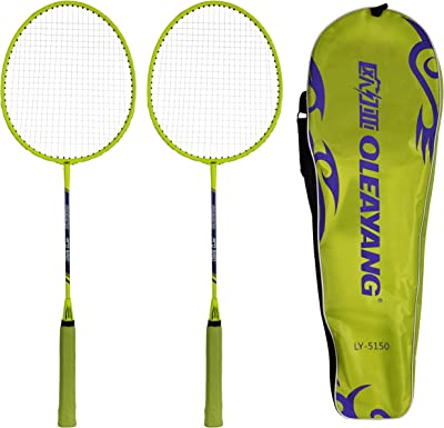 IRIS Carbon-Steel Badminton Racquets (67 cm x 23 cm x 5 cm, Green, Pack of 3)