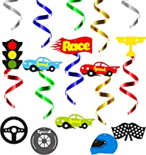 BeYumi Race Car Hanging Swirls Decorations for Let's Go Racing Themed Birthday Party Supplies Baby Shower, Festival Party, Pack of 30 PCS
