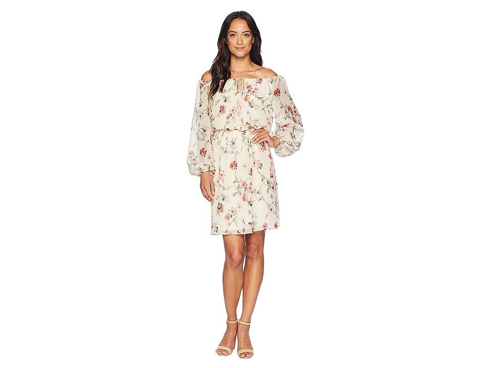 Adrianna Papell Bontia Oasis Peasant Dress (Ivory Multi) Women