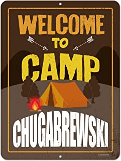 Honey Dew Gifts Funny Camping Signs, Welcome to Camp Chugabrewski, 9 x 12 inch Novelty Tin Camper Decor