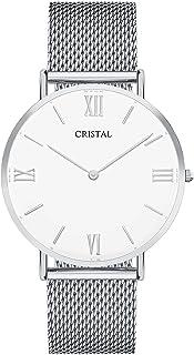 Montre Cristal Argent - Mixte - Bracelet milanais