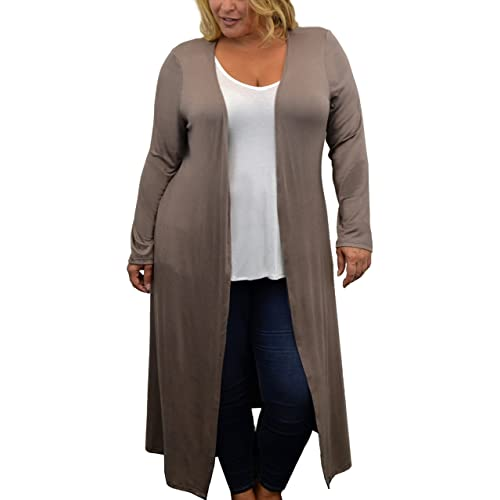 500e1e328f4 Urban Rose Womens Plus Size Cardigan with Long Duster Length