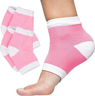 ZenToes Moisturizing Heel Socks 2 Pairs Gel Lined Toeless Spa Socks to Heal and Treat Dry, Cracked Heels While You Sleep (Cotton, Pink)