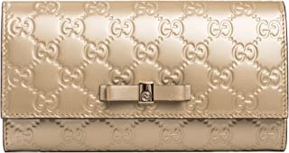 GG Platinum Gold Guccisima Wallet Leather Bowie Bow New Italy Box