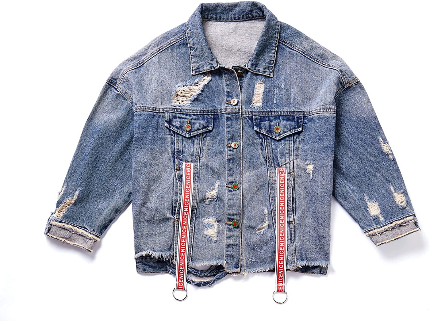 Souliyan Women's Loose Stretch Jacket Fashion Patch Hole Denim Clothing (Size   M)