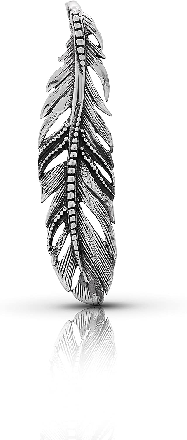Big Feather Pendant Excellence 925 Sterling Tribal OFFicial site Silver American B Native