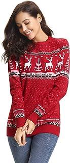 7c6edd8e830 Abollria Pull Femme Noël Sweater Tricot Coton Joyeux Christmas Top T-Shirt  Motif Flocon de