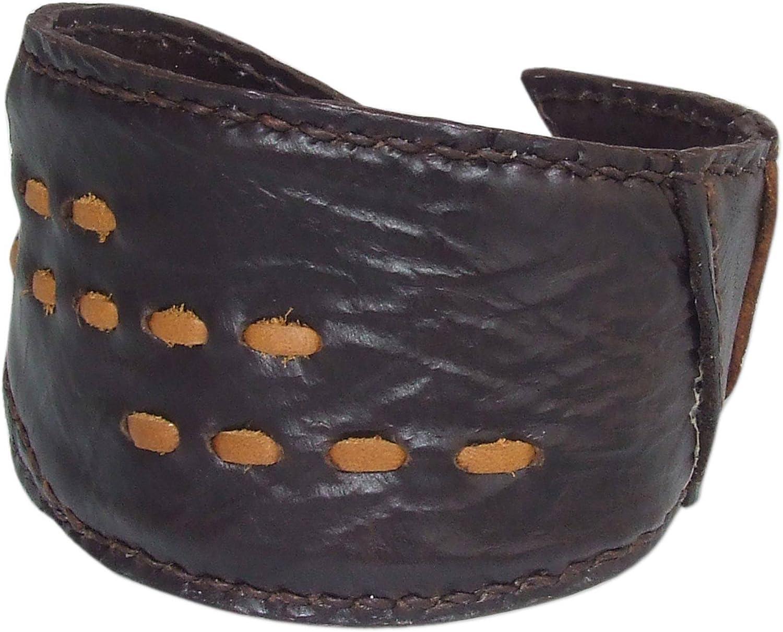 NOVICA Leather Cuff Bracelet 'Golden Path'