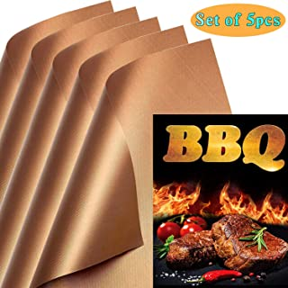 KCZAZY Copper Grill Mats Set of 5 - Reusable, 100% Non Stick, Easy to Clean Barbecue Grilling Accessories, Works on Electric Gas Charcoal Grill Indoor and Outdoor Use, Heavy Duty 0.25mm